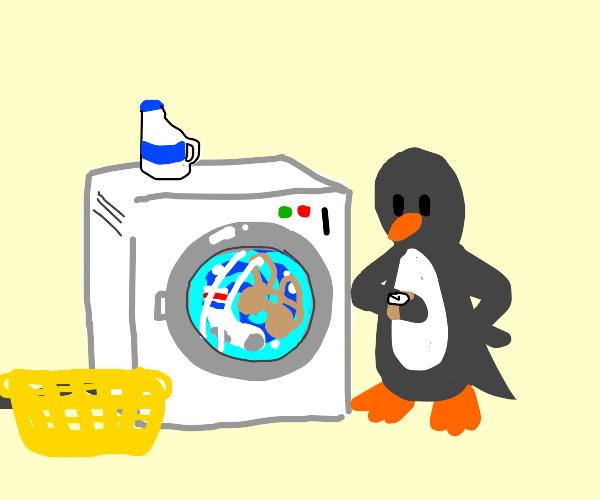 Penguin washing clothes