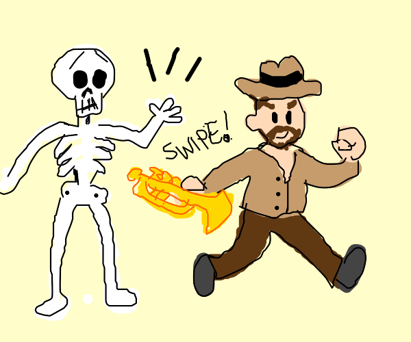 indiana jones snatches the skeletons trumpet