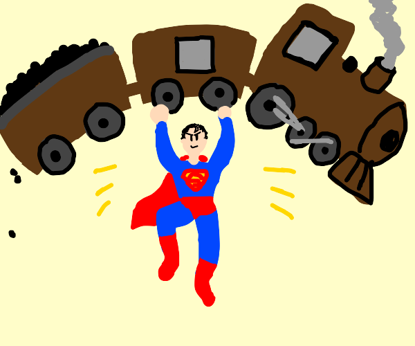 Superman lifts up a train