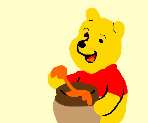 Pooh eating hunny