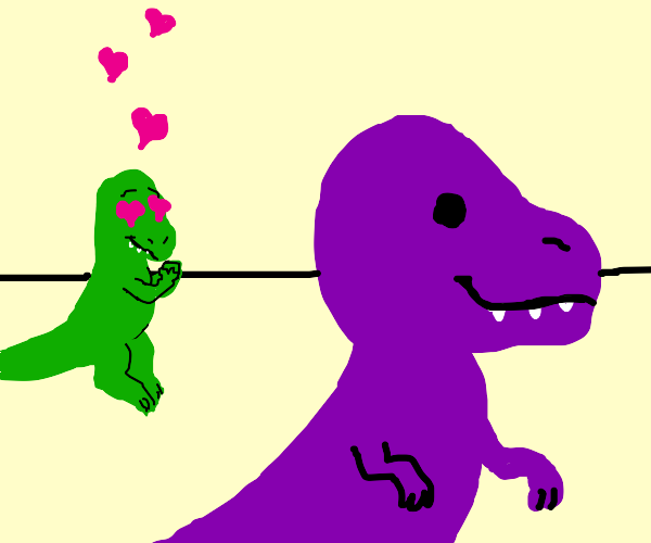 green dino has a crush on purple dino