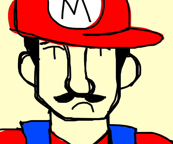 Mario with a tiny stache and big hat