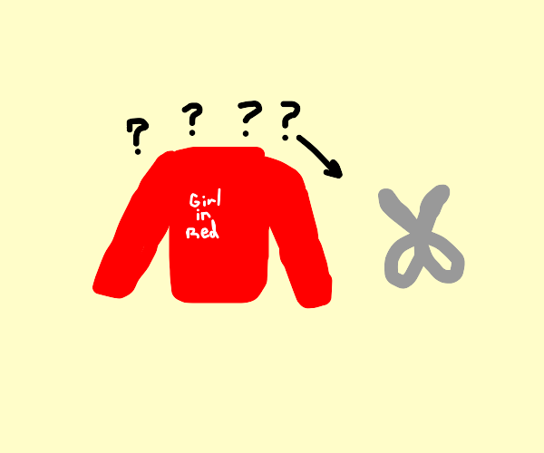 Girl in red hoodie doesn't understand scissor