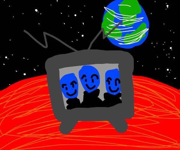 the blue man group is on mars on tv