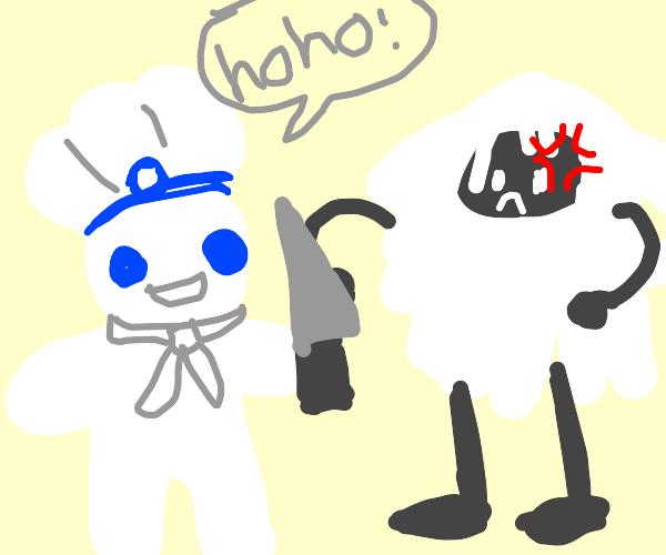 Pilsbury(?) dough boy brutallyfighting a yeti