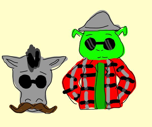 Hipster Shrek and Donkey.