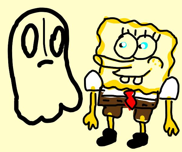 Spongebob and Napstablook (undertale)
