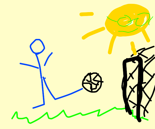 Blue person playing football (or soccer)