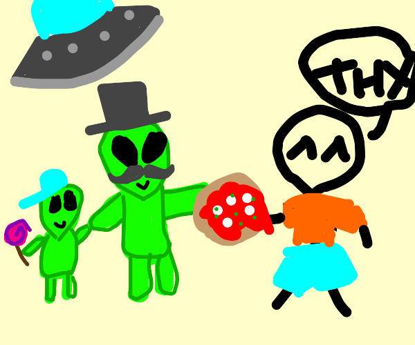 alien dad gives human pizza