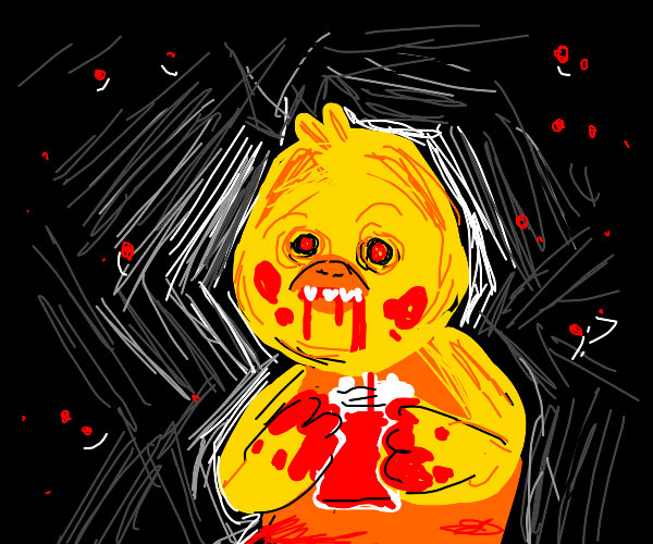 murderous yellow chicken eating blood