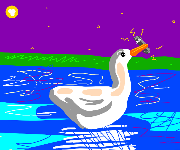 Swan holding a Battery