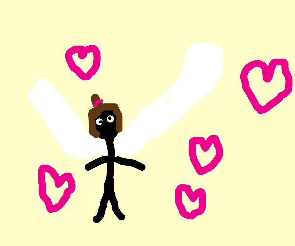 Winged girl emitting love