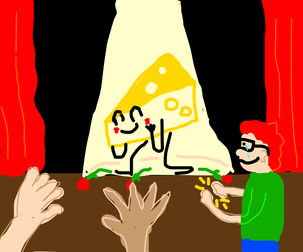 Redhead nerd applauds cheese