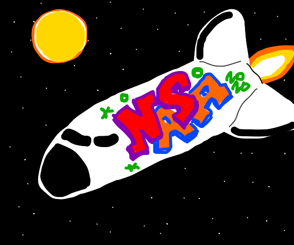Rocket with fancy new NASA logo
