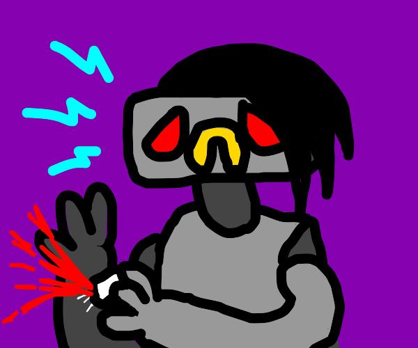 Weird goth anime robot boy