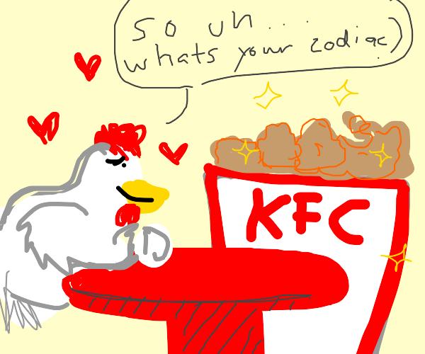 hen dates kfc bucket