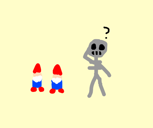 Skeleton confused by garden knomes