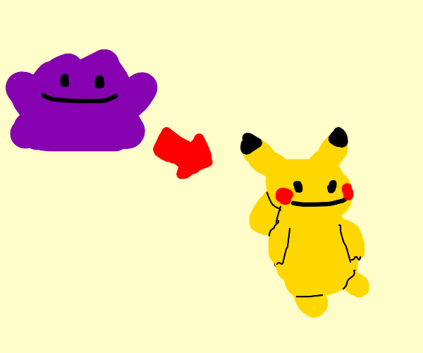 ditto morphing into pikachu
