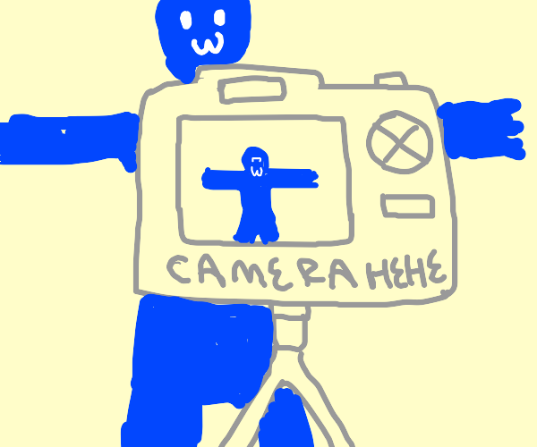 Blue dude with arms out in front of a camera
