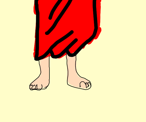 legs in a red robe