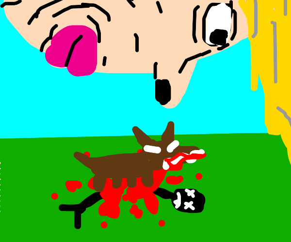 Woman watches as his friend gets eaten by dog