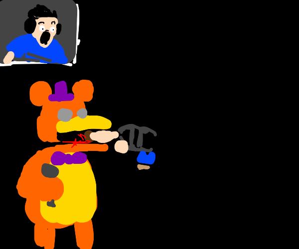 fnaf bear eats kid, streamer is horrified