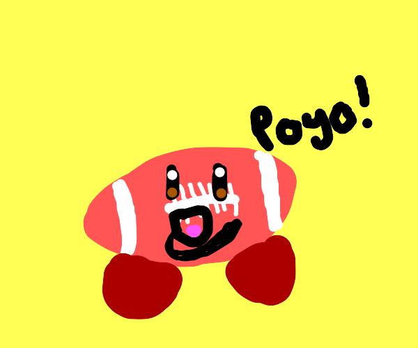 Kirby turned into a football