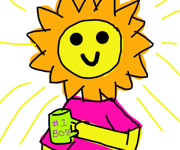 The sun w/ human clothing & #1 boss mug
