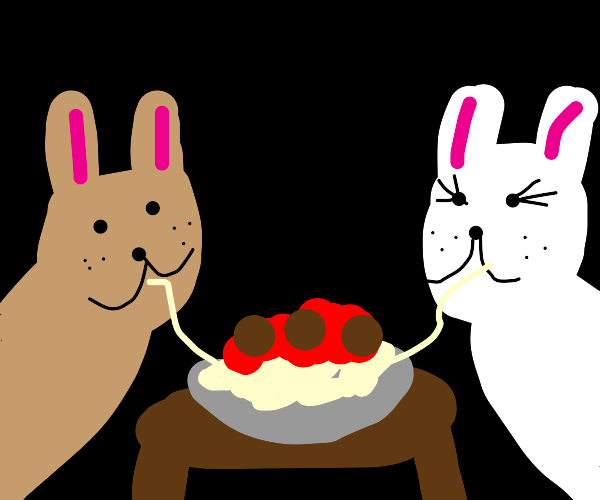 Lady and the Tramp spaghetti but with Hares