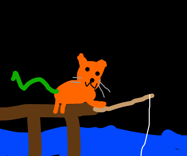 Cat with snake tail fishing