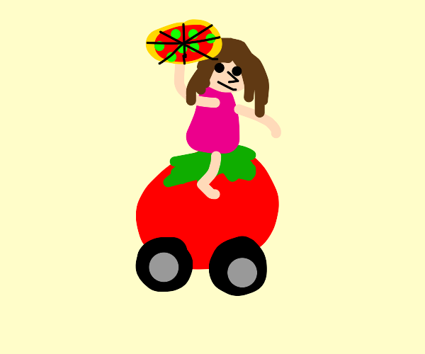 Girl w/ green pepperoni pizza and tomato ride