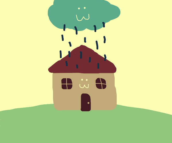 cute little house and a raincloud