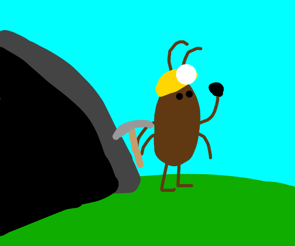Cockroach with coal outside a Mine