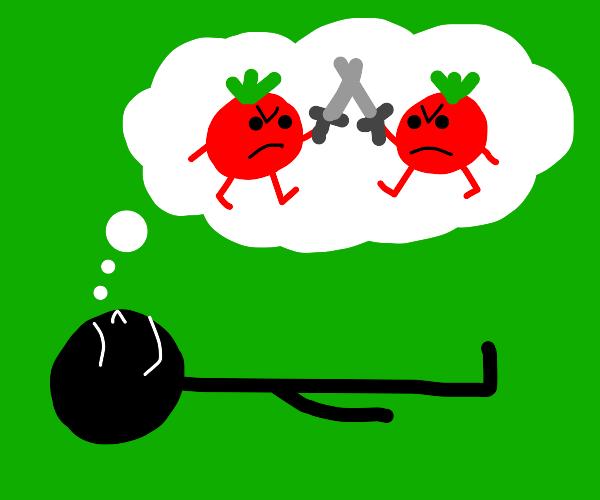 Man dreams of tomato war