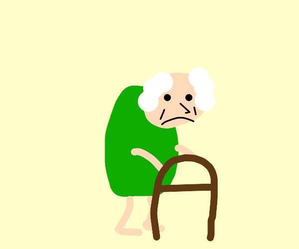 sad green shirt guy is old