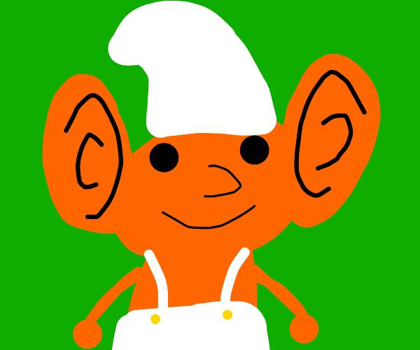 The orange smurf is listening