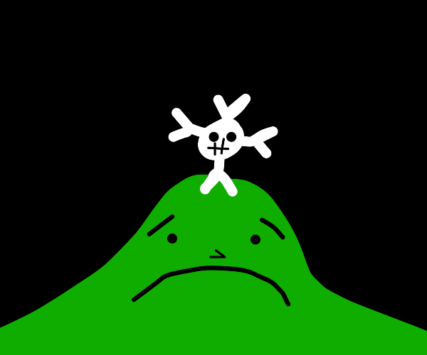 depressed hill with cross and a bone body