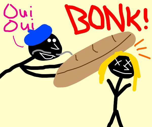 man bonks a women with stale baguette