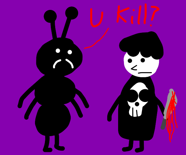 bug man asking an emo if he killed someone