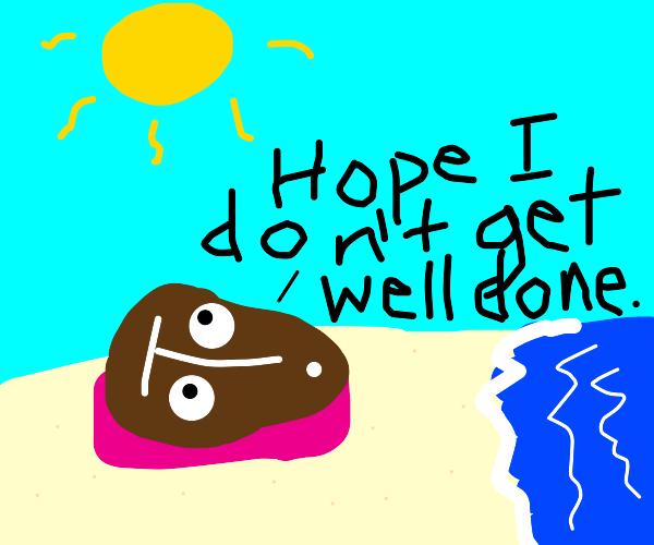 steak sunbathing on the beach