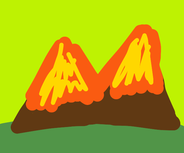 lava and fire tear down mountains and land