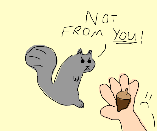 Squirel rejects nut from you and you only
