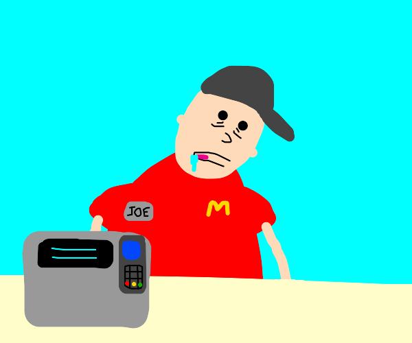 exhausted McDonalds cashier looks braindead