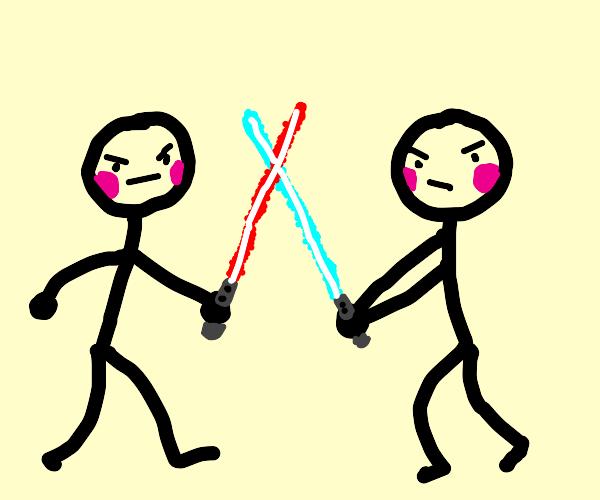 stick figure light saber fight