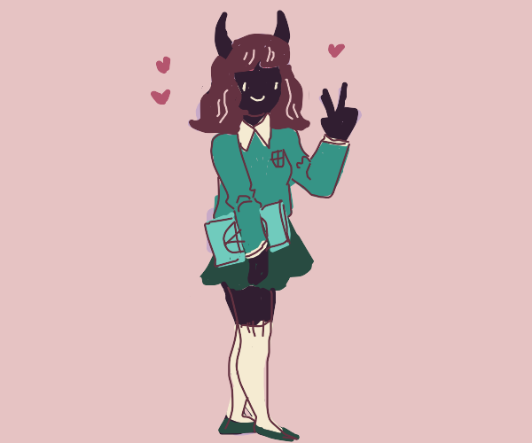 Adorable demon school girl