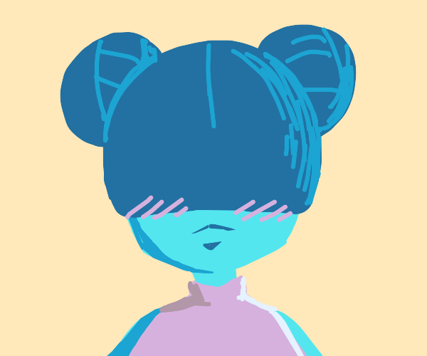 a very cute blue anime girl