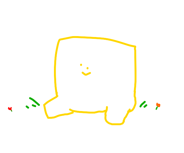 A giant light yellow square sitting quietly