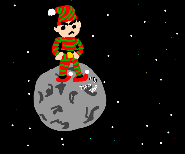 angry christmas elf stranded in outer space