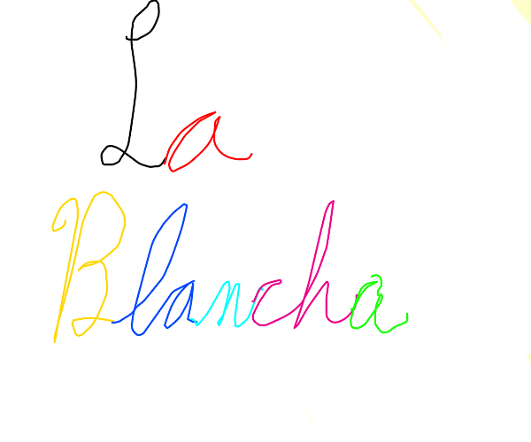"""the text """"la blanche"""" on a white background"""