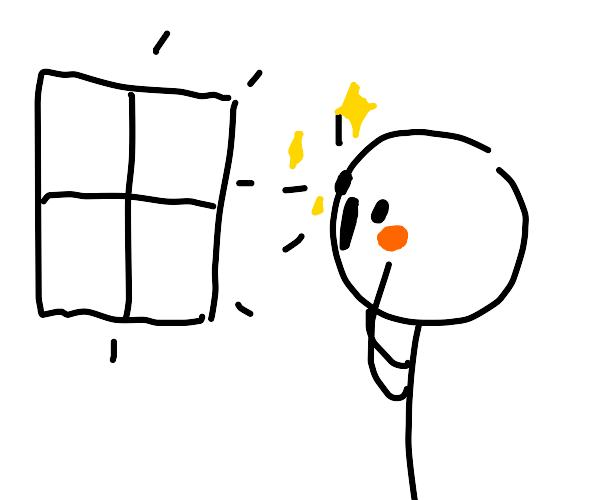 Stickman is amazed by windows